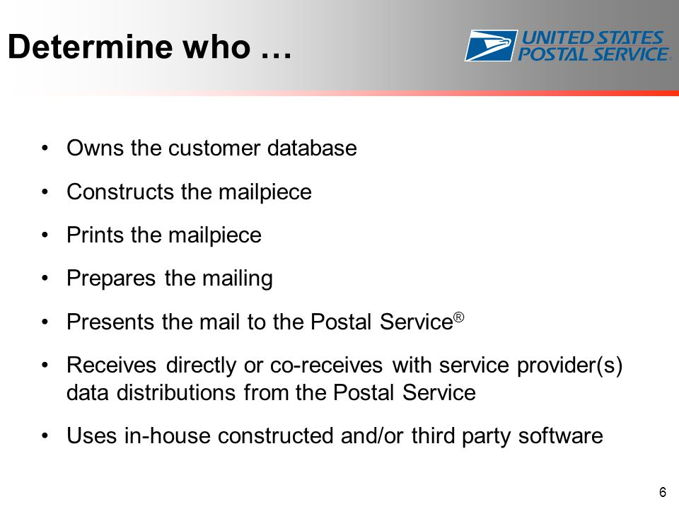 Determine who … Owns the customer database Constructs the mailpiece