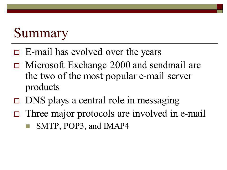 Summary E-mail has evolved over the years