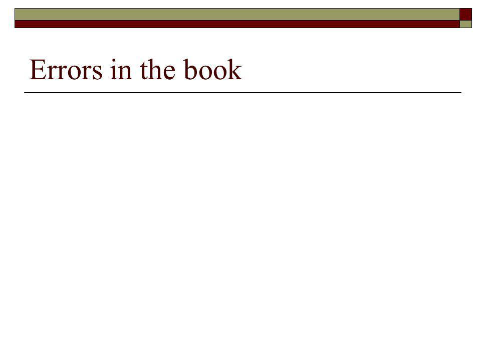 Errors in the book