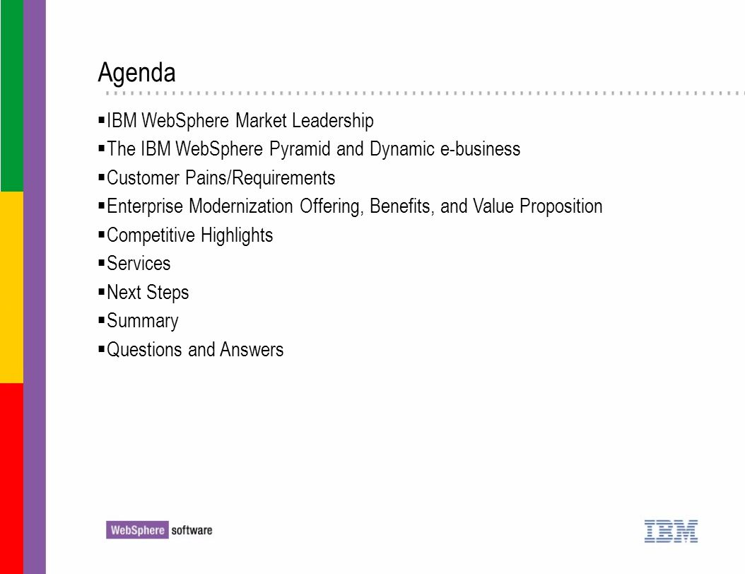 Agenda IBM WebSphere Market Leadership