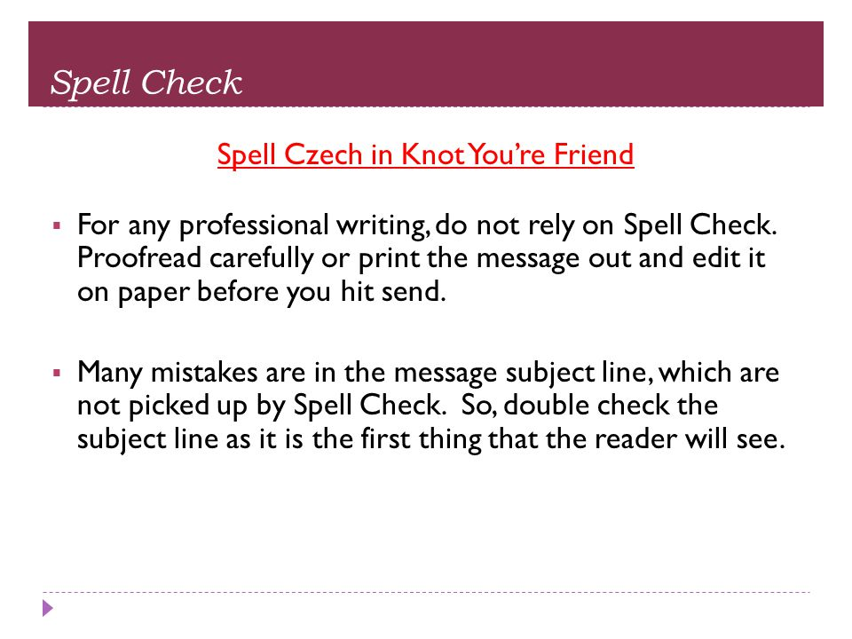 Spell Czech in Knot You're Friend