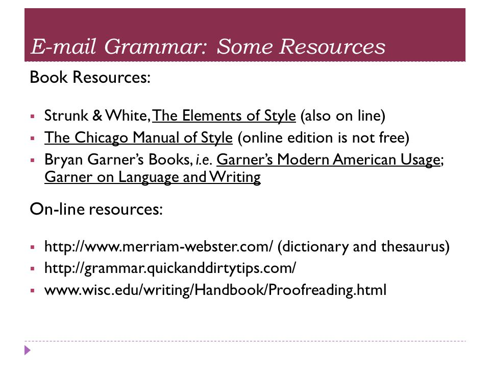 E-mail Grammar: Some Resources