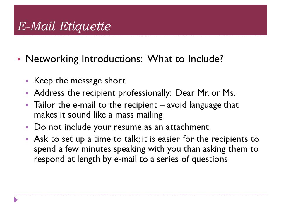 E-Mail Etiquette Networking Introductions: What to Include