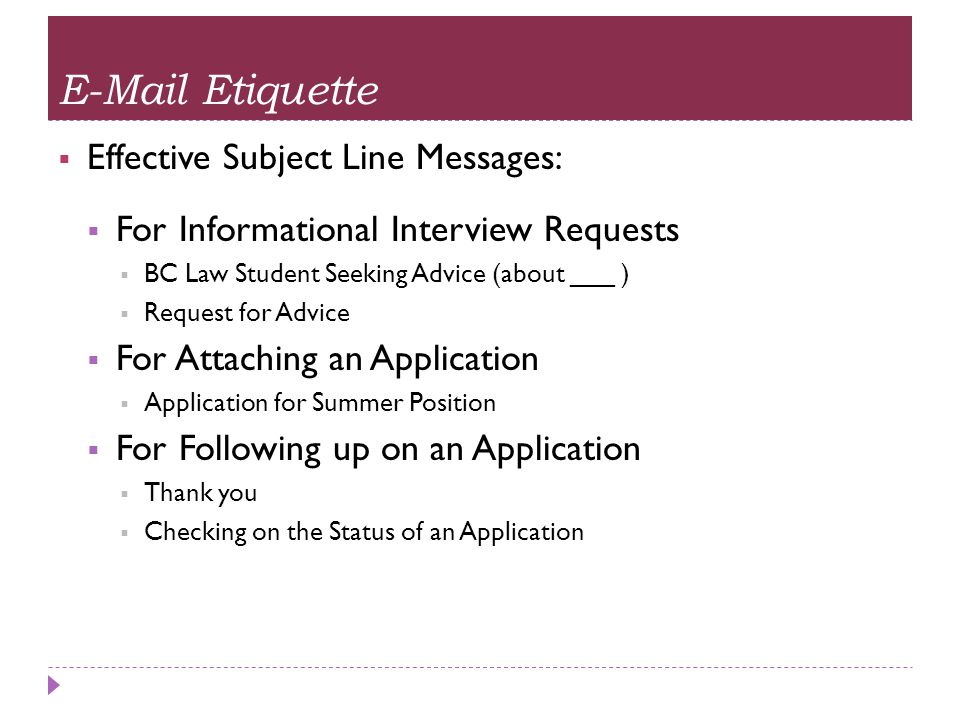 E-Mail Etiquette Effective Subject Line Messages: