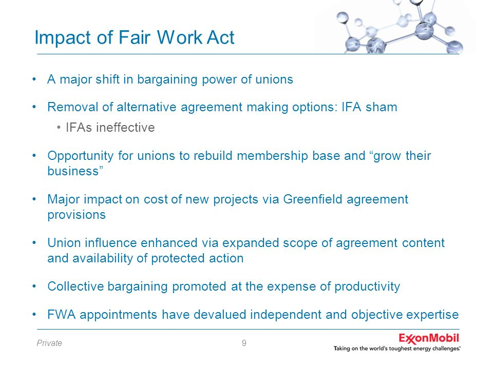 Impact of Fair Work Act A major shift in bargaining power of unions