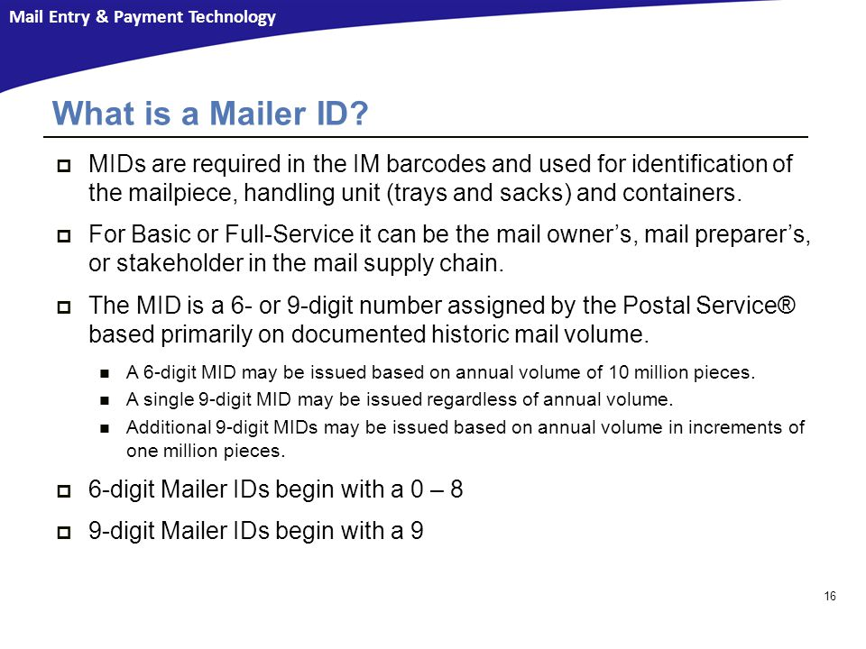 What is a Mailer ID