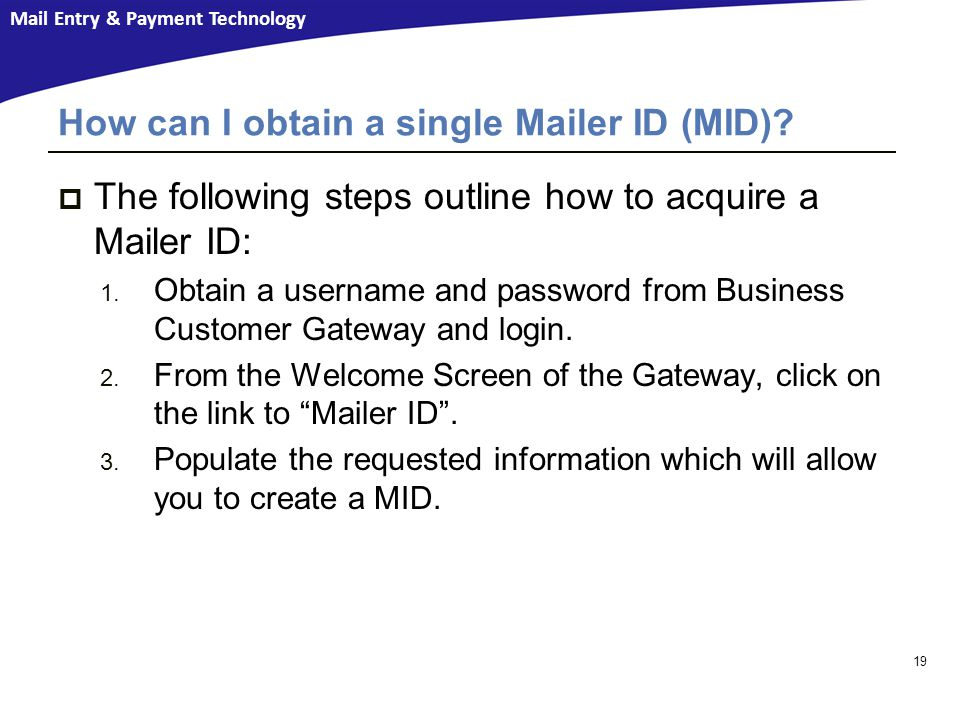 How can I obtain a single Mailer ID (MID)
