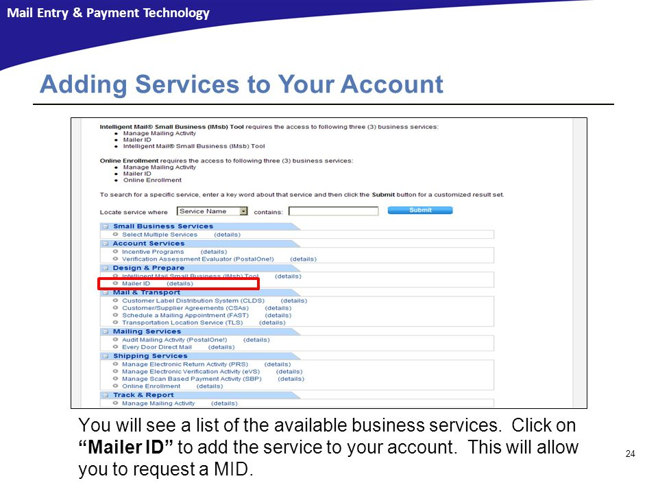 Adding Services to Your Account