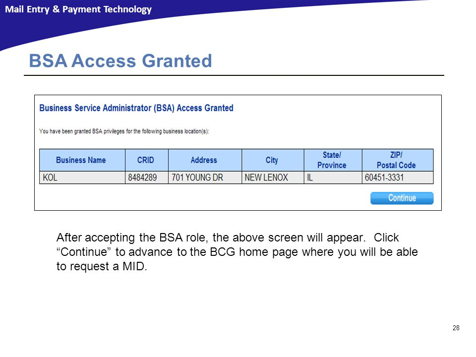 BSA Access Granted