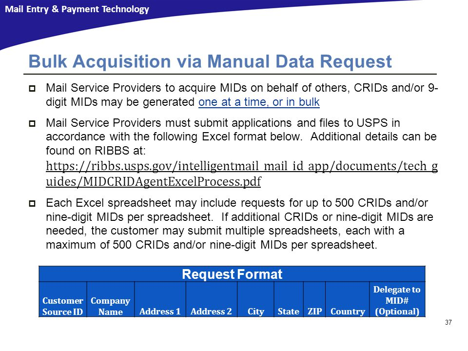 Bulk Acquisition via Manual Data Request