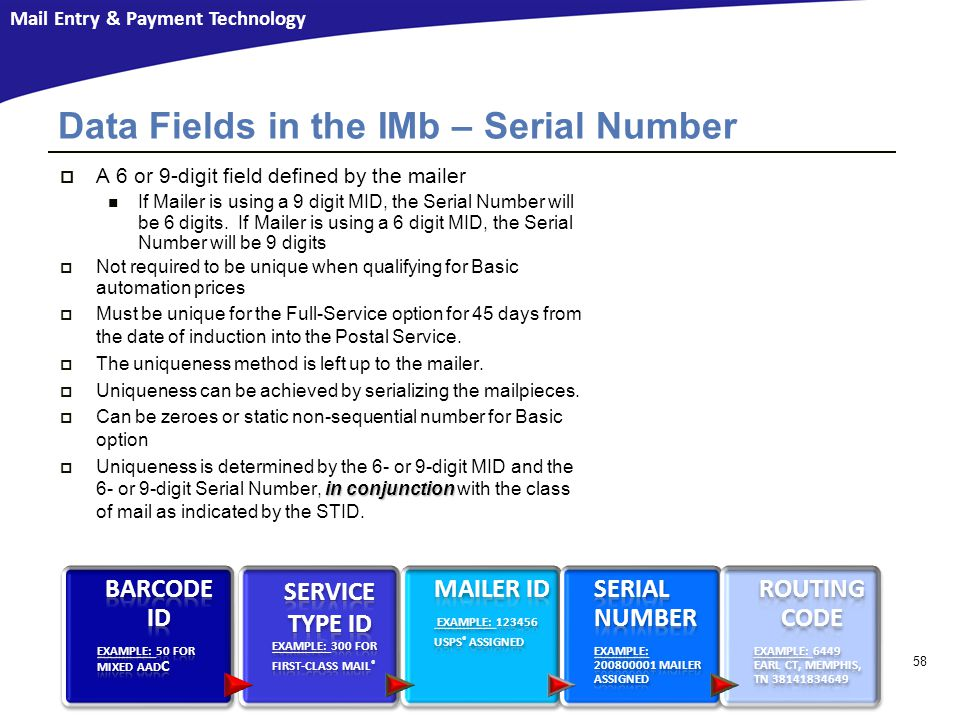 Data Fields in the IMb – Serial Number