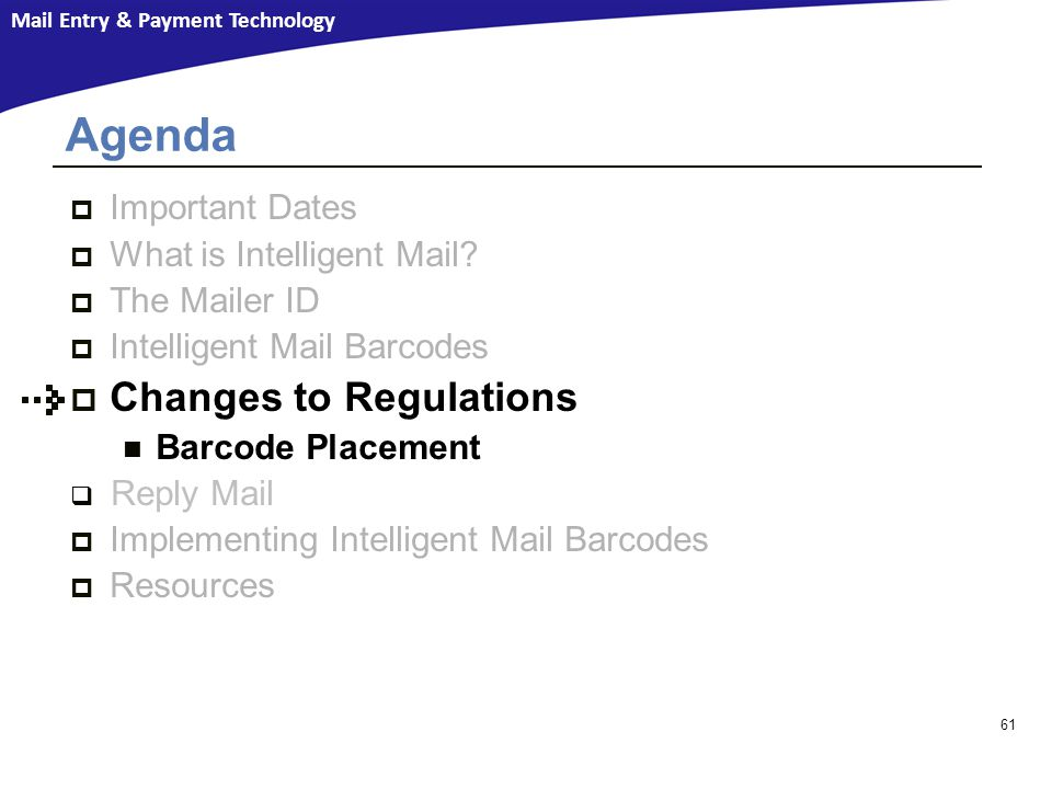 Agenda Changes to Regulations Important Dates