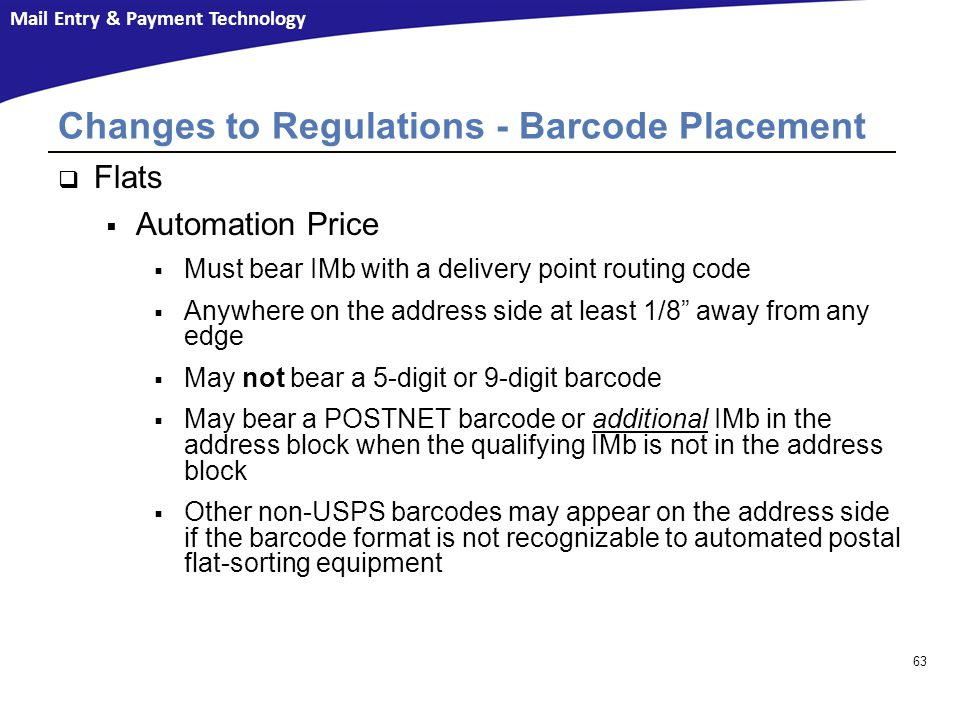 Changes to Regulations - Barcode Placement