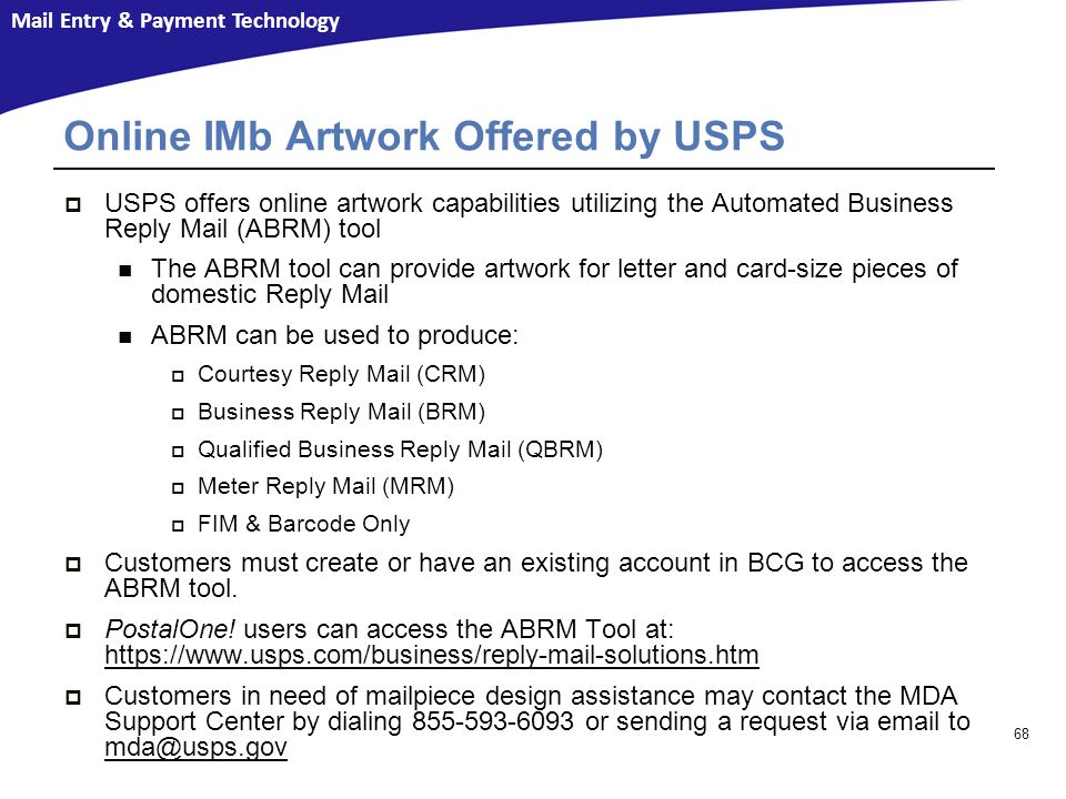 Online IMb Artwork Offered by USPS