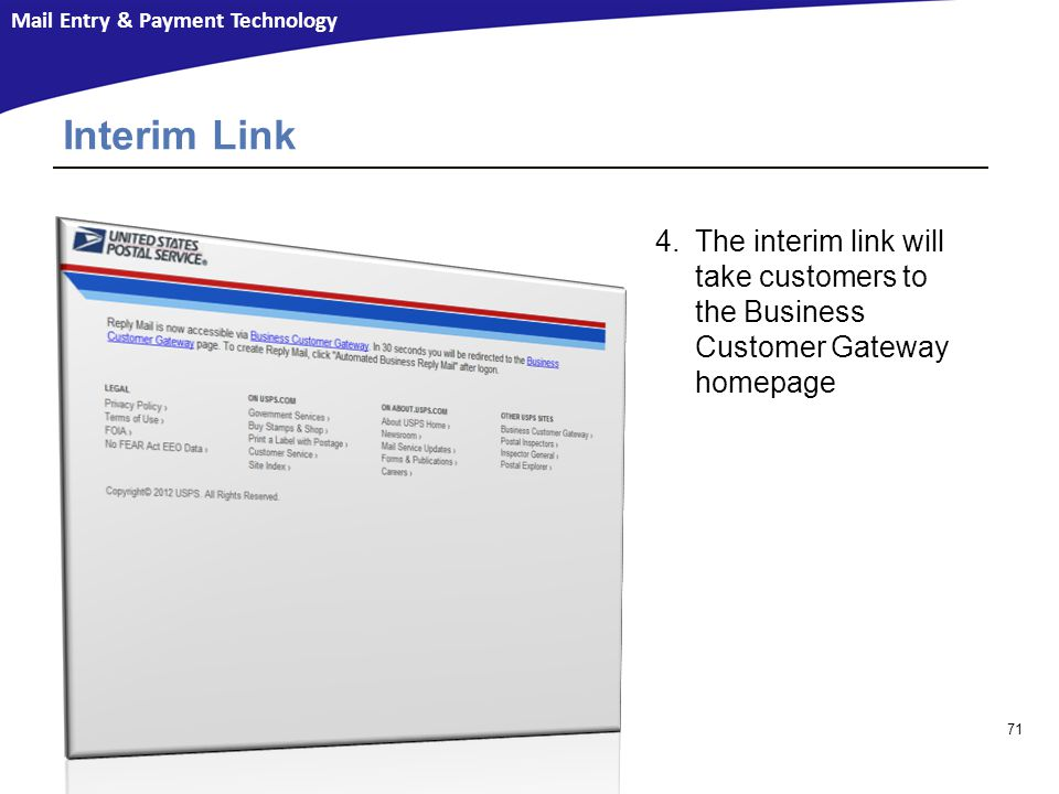 Interim Link The interim link will take customers to the Business Customer Gateway homepage