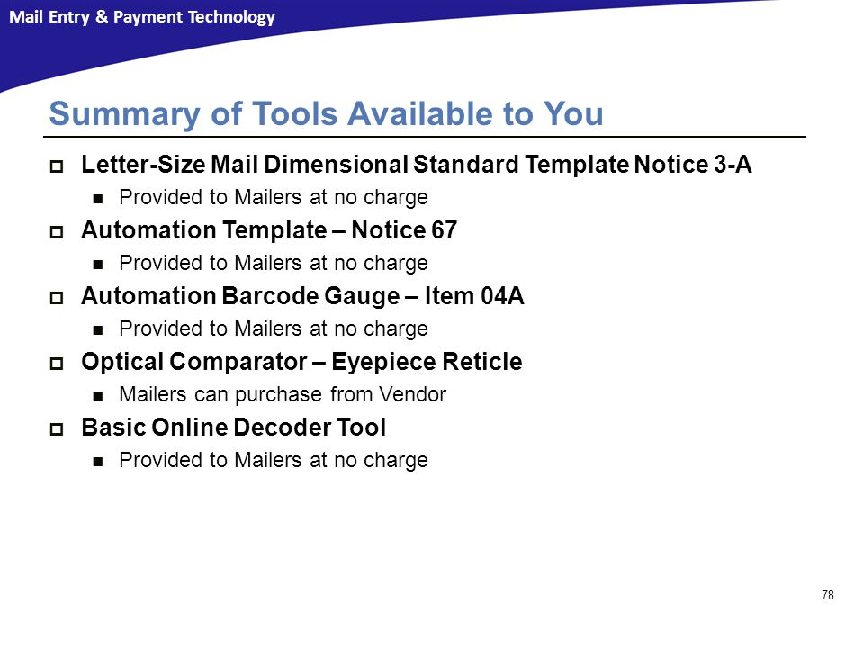 Summary of Tools Available to You