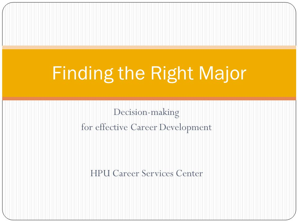 Finding the Right Major