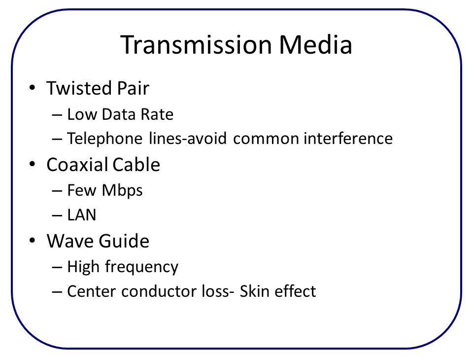 Transmission Media Twisted Pair Coaxial Cable Wave Guide Low Data Rate