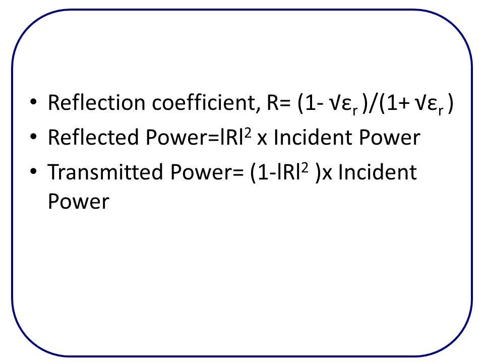 Reflection coefficient, R= (1- √εr )/(1+ √εr )