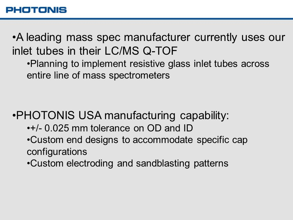 PHOTONIS USA manufacturing capability: