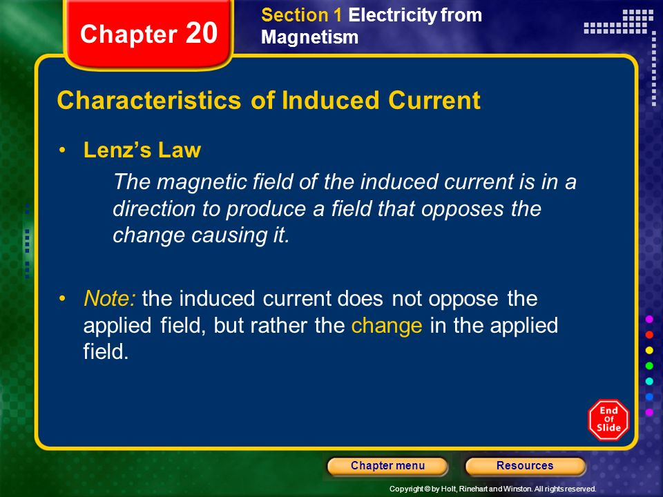 Characteristics of Induced Current