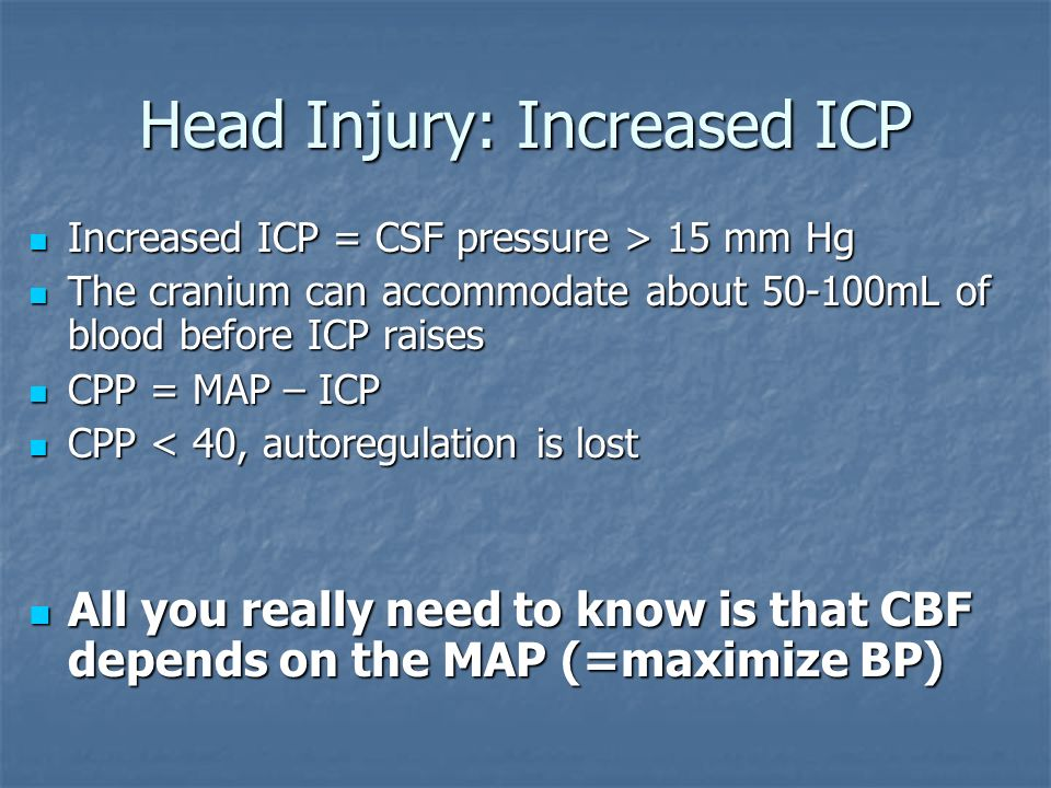 Head Injury: Increased ICP