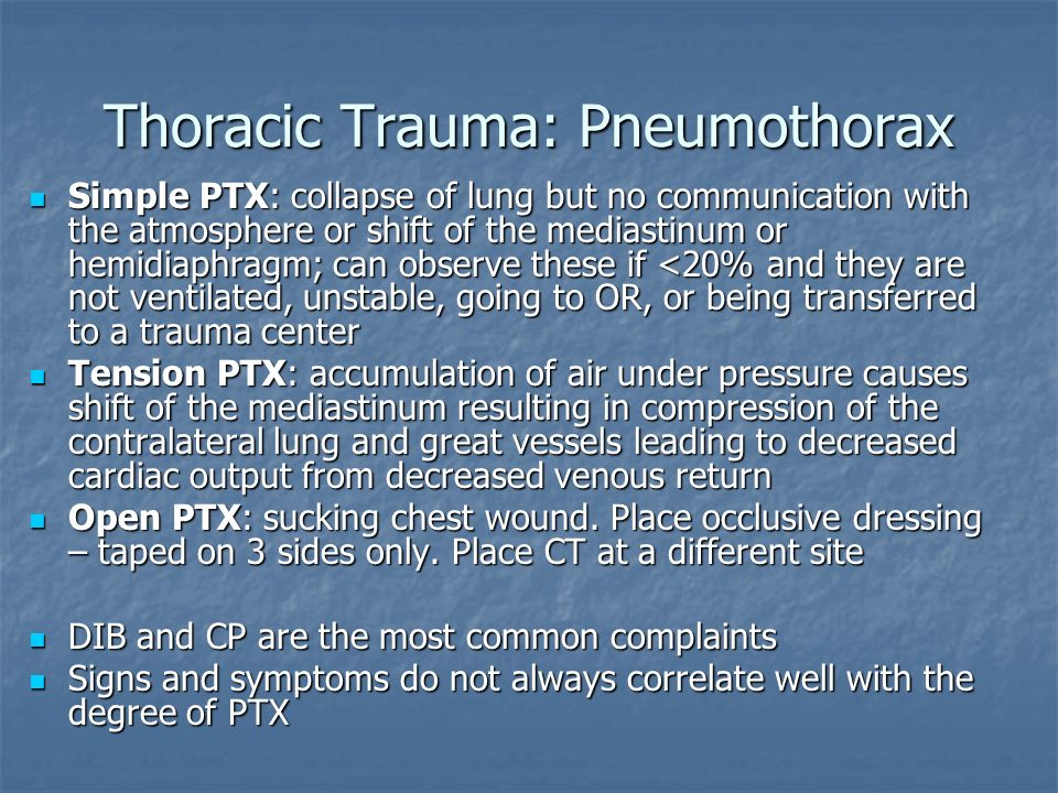 Thoracic Trauma: Pneumothorax