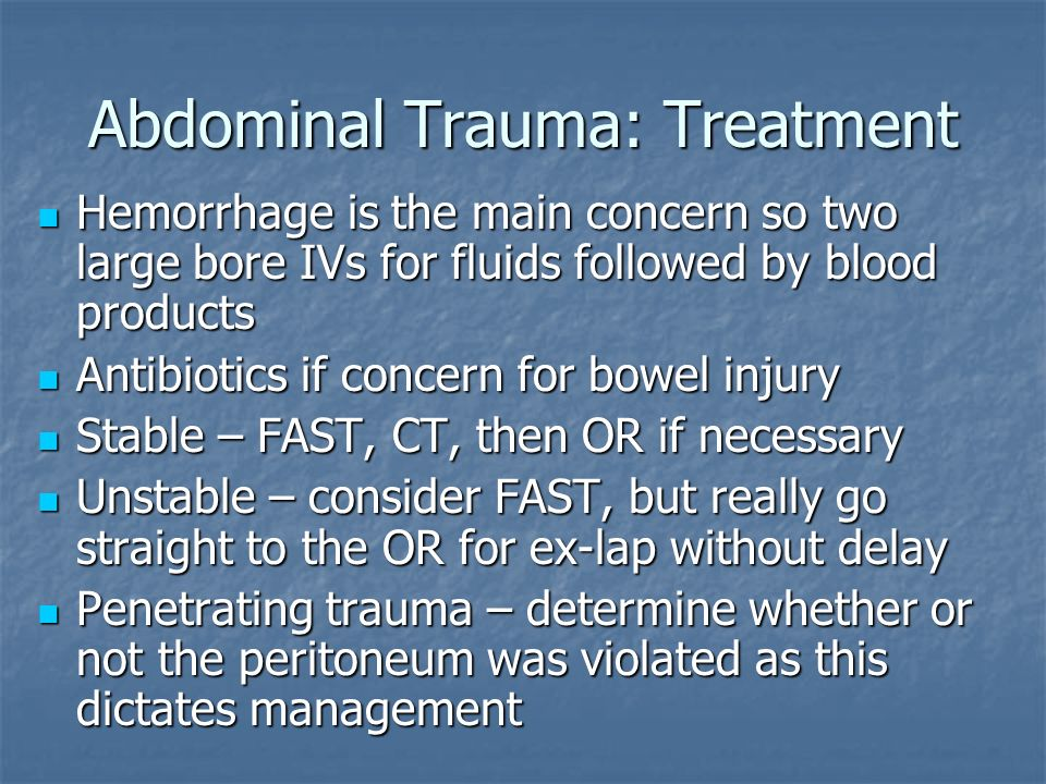 Abdominal Trauma: Treatment