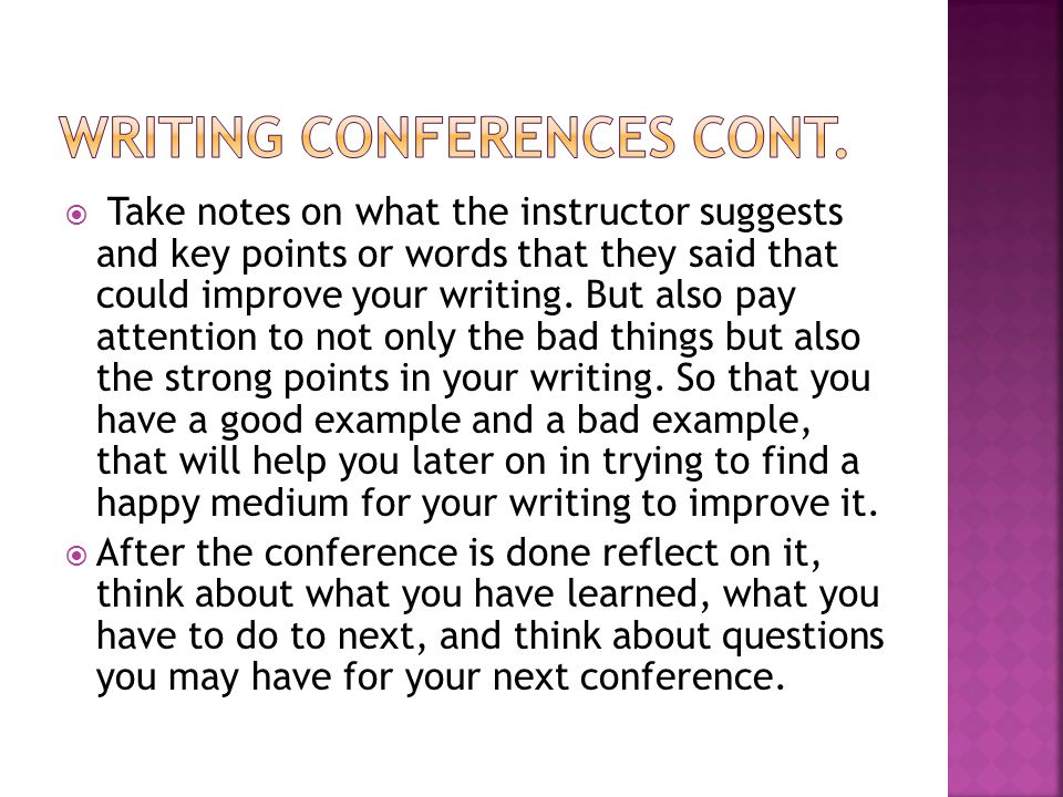 Writing conferences cont.
