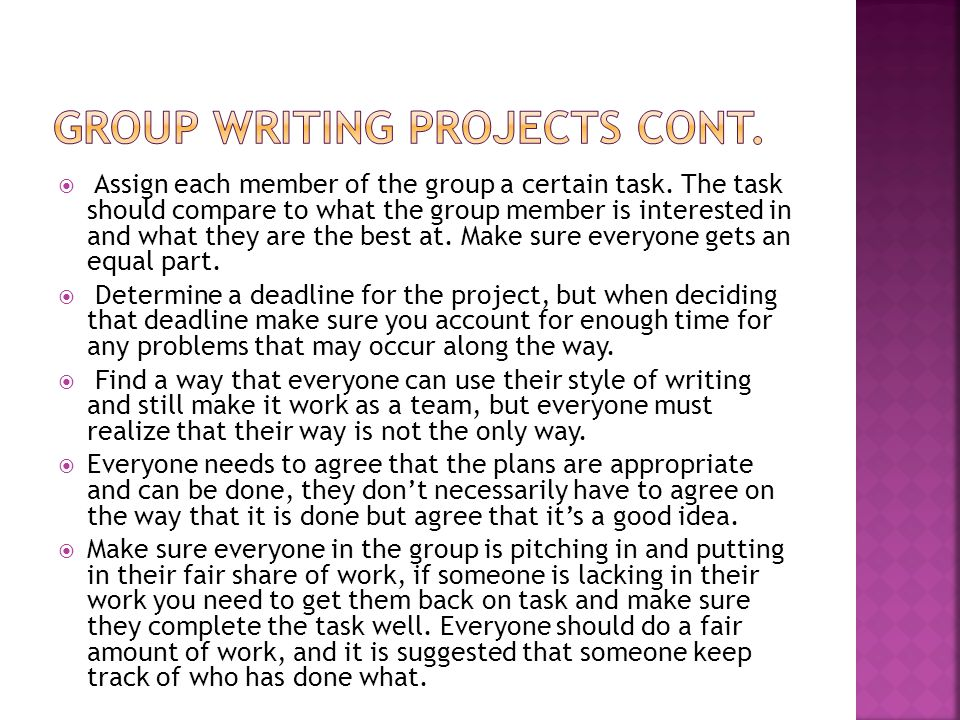 Group writing projects cont.