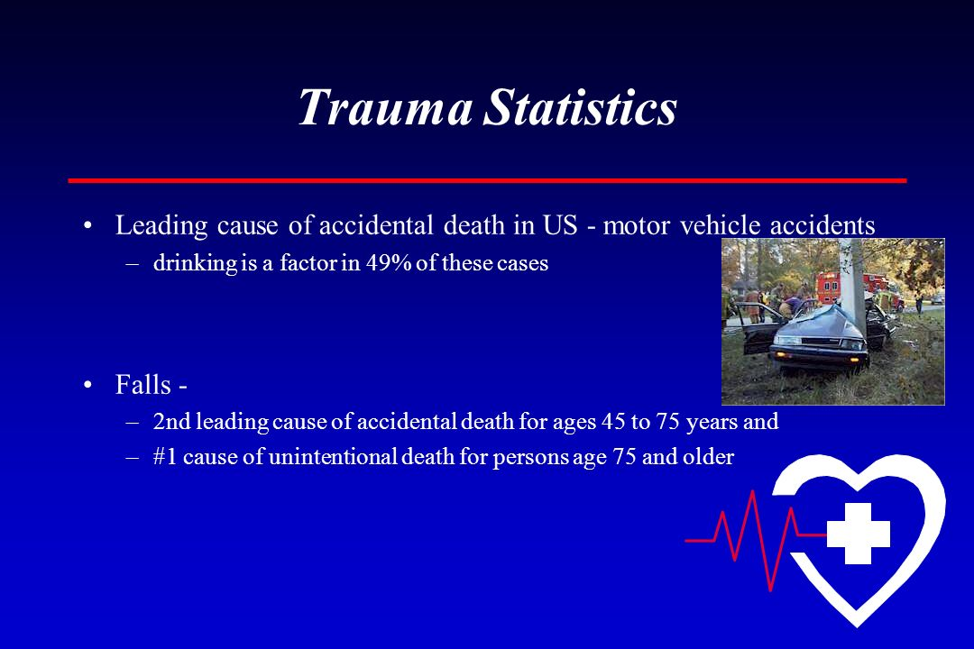 Trauma Statistics Leading cause of accidental death in US - motor vehicle accidents. drinking is a factor in 49% of these cases.