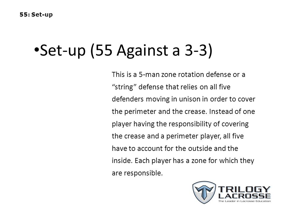 55: Set-up Set-up (55 Against a 3-3)