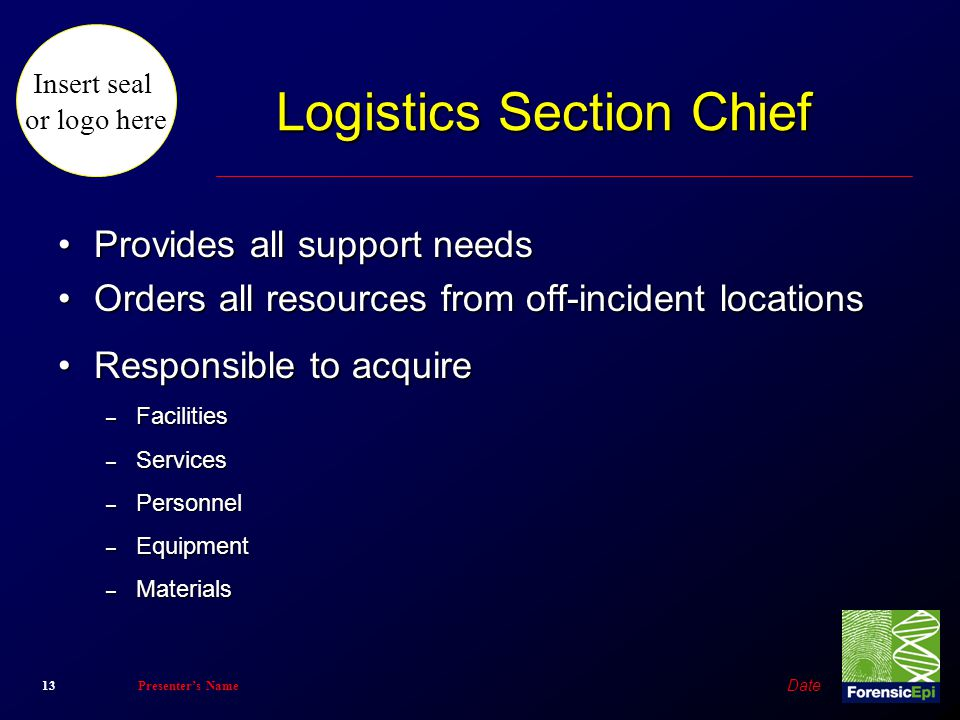 Logistics Section Chief