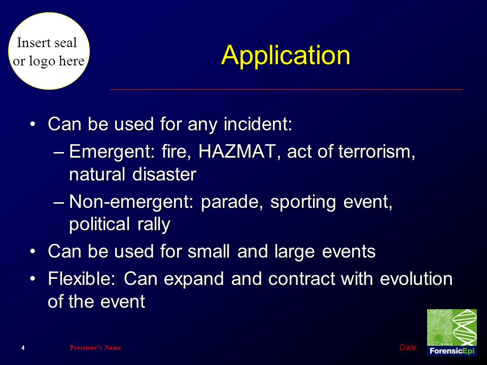 Application Can be used for any incident: