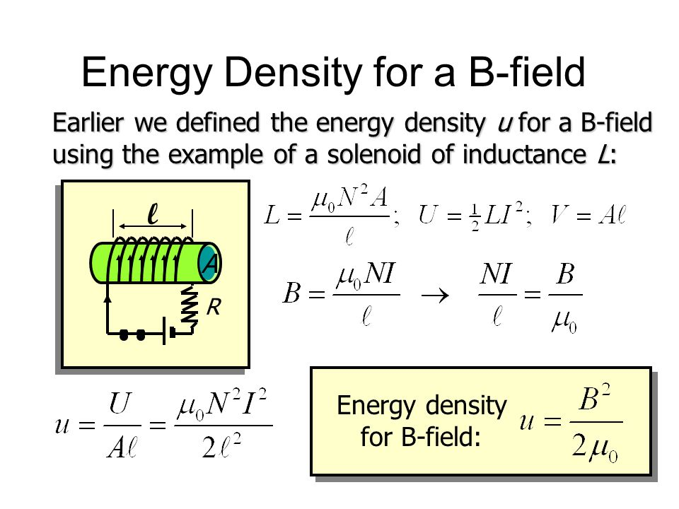 Energy Density for a B-field