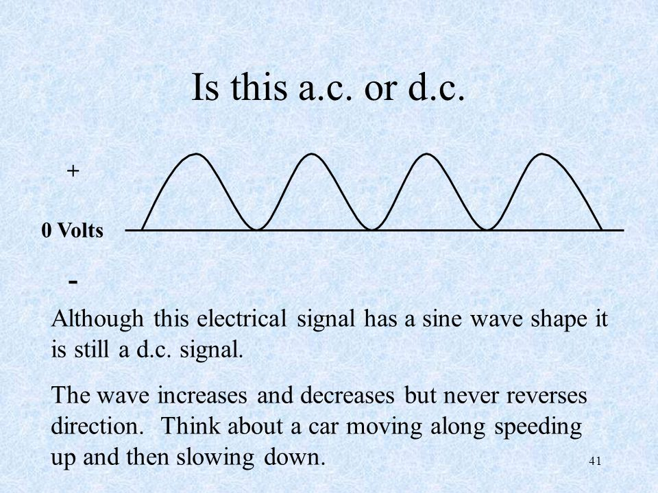 Is this a.c. or d.c. + 0 Volts. - Although this electrical signal has a sine wave shape it is still a d.c. signal.