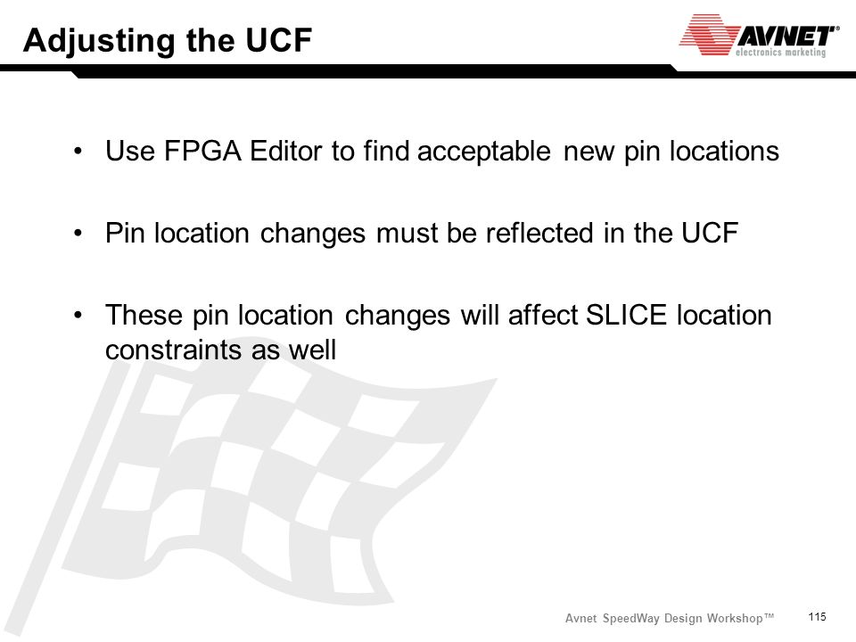 Adjusting the UCF Use FPGA Editor to find acceptable new pin locations