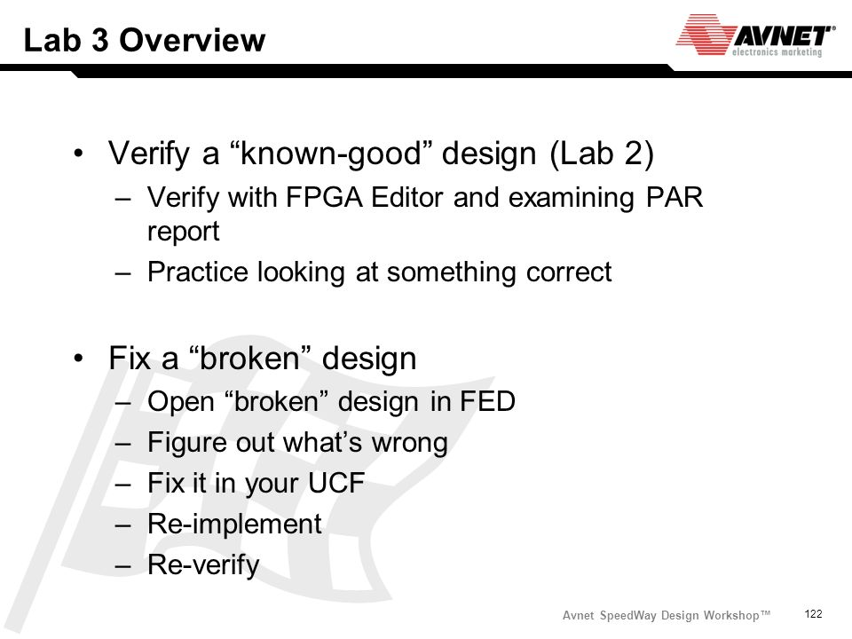 Verify a known-good design (Lab 2)