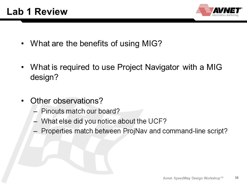 Lab 1 Review What are the benefits of using MIG