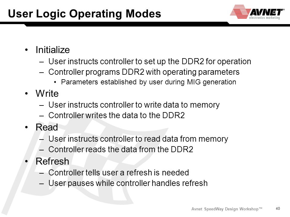 User Logic Operating Modes