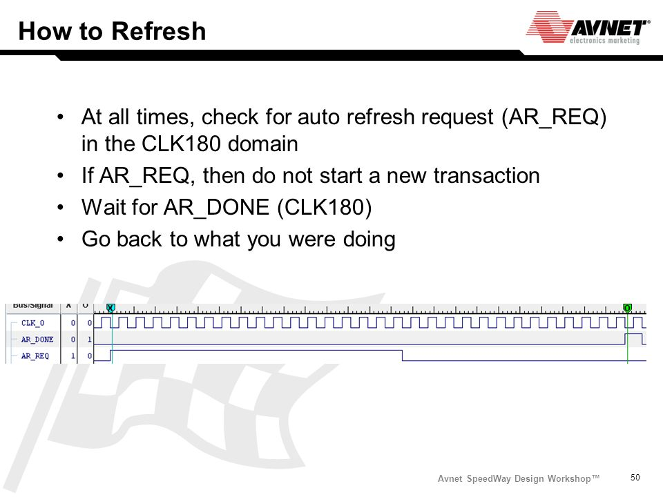 How to Refresh At all times, check for auto refresh request (AR_REQ) in the CLK180 domain. If AR_REQ, then do not start a new transaction.