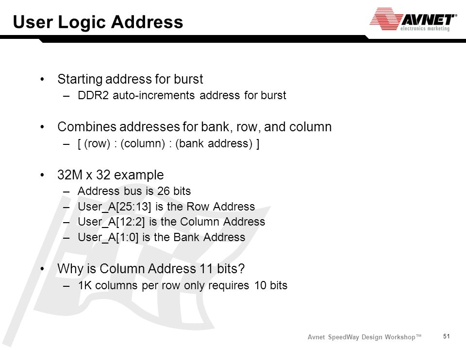 User Logic Address Starting address for burst