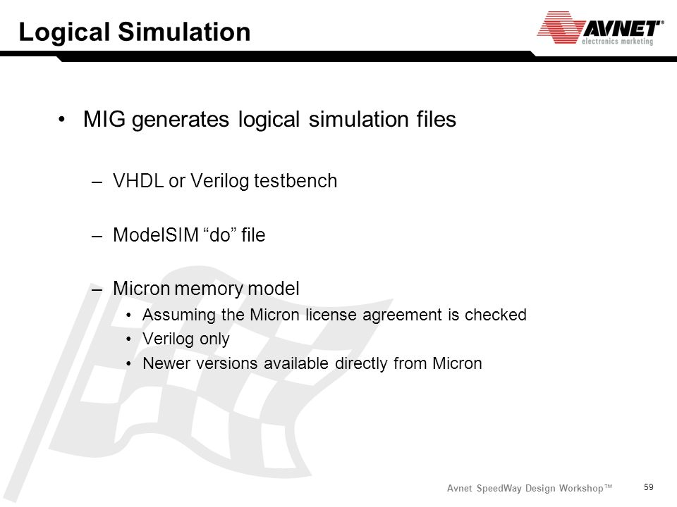 Logical Simulation MIG generates logical simulation files