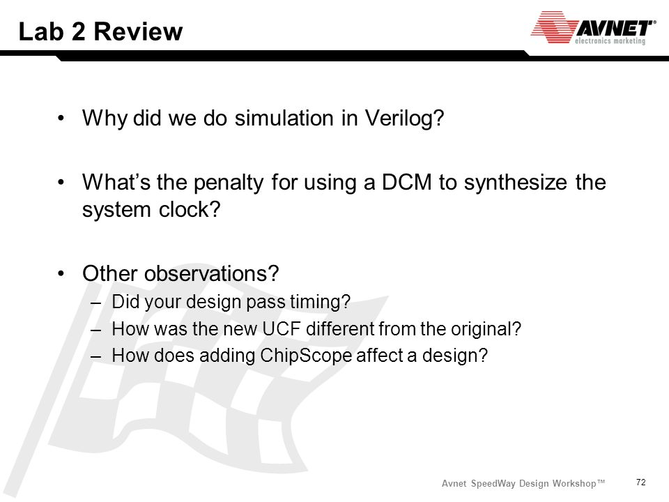 Lab 2 Review Why did we do simulation in Verilog