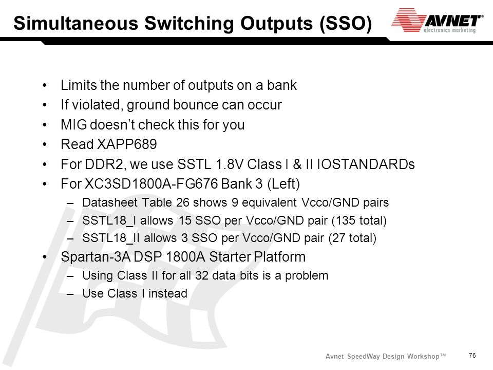 Simultaneous Switching Outputs (SSO)