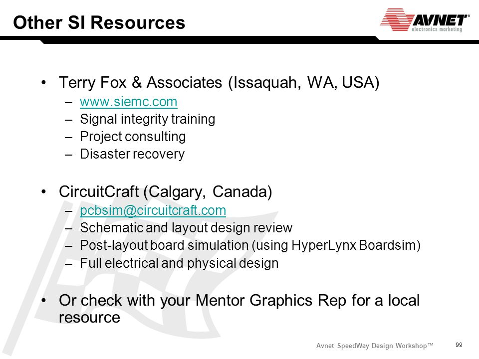 Other SI Resources Terry Fox & Associates (Issaquah, WA, USA)