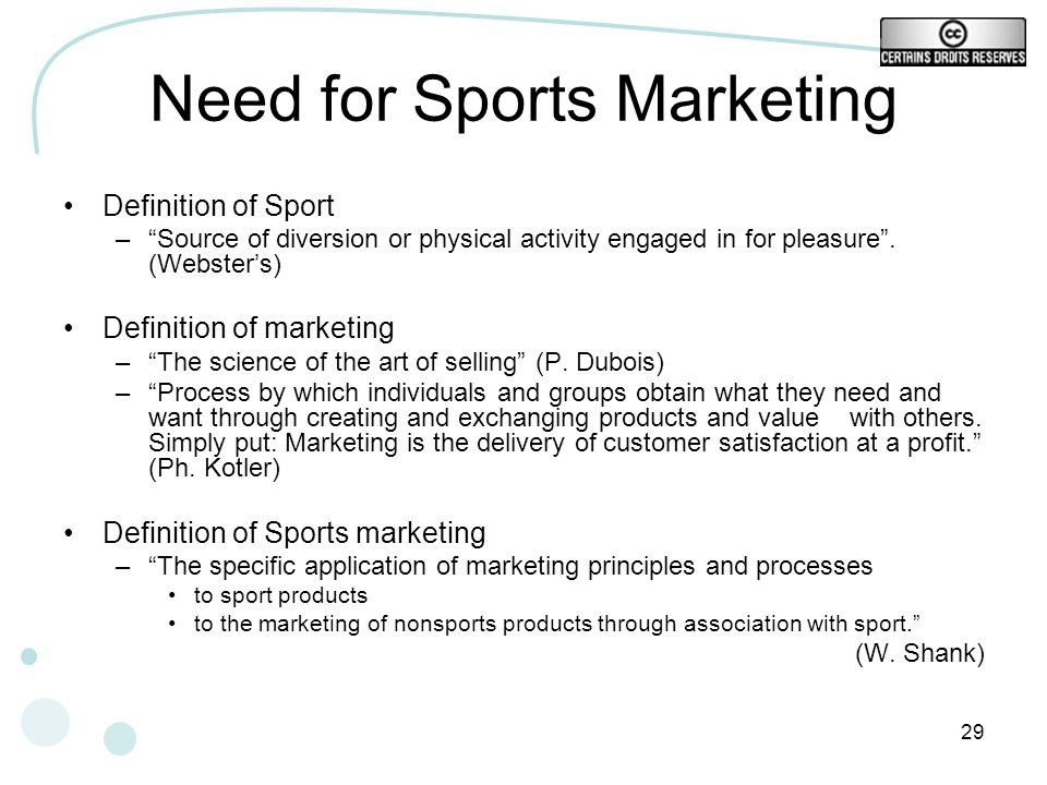 Need for Sports Marketing