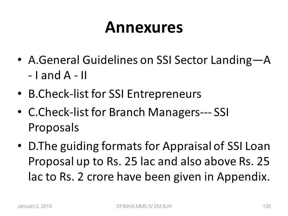 Annexures A.General Guidelines on SSI Sector Landing—A - I and A - II