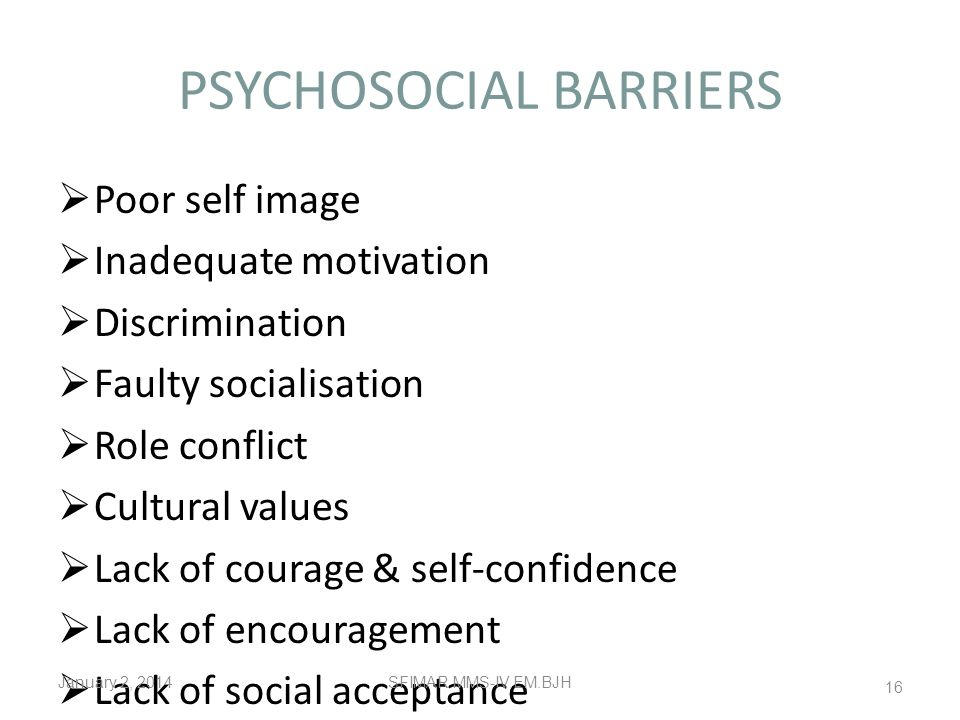 PSYCHOSOCIAL BARRIERS