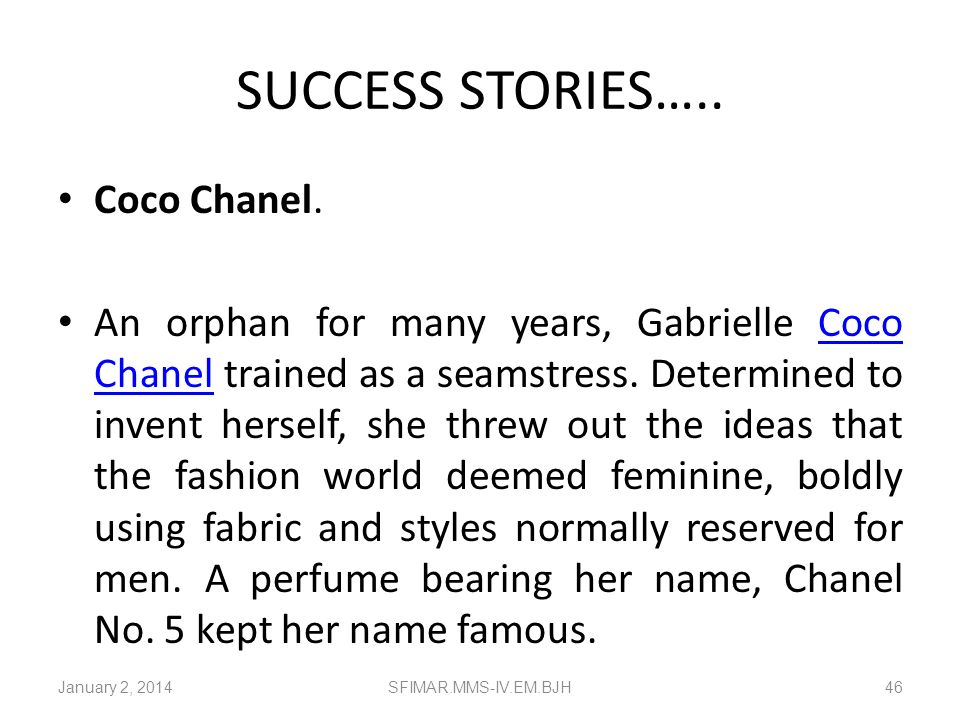 SUCCESS STORIES….. Coco Chanel.